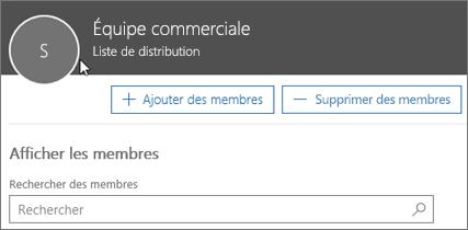 Capture d'écran: Ajouter des membres à la liste de distribution
