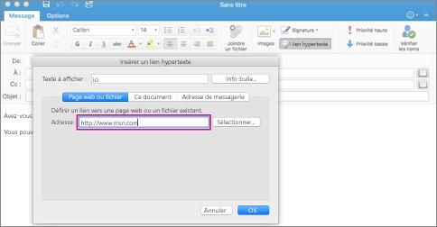 Boîte de dialogue Lien hypertexte dans Outlook pour Mac