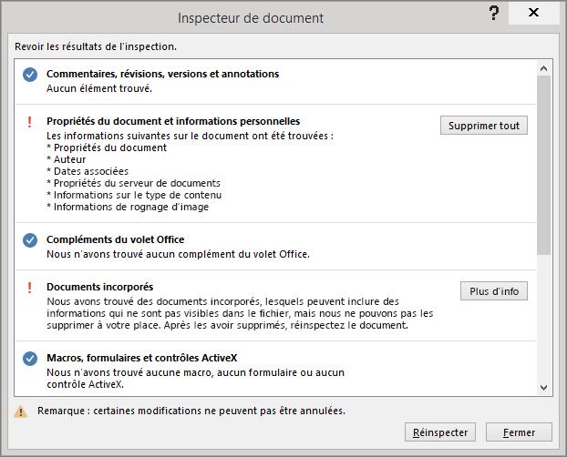 Boîte de dialogue Inspecteur de document avec l'option Supprimer tout