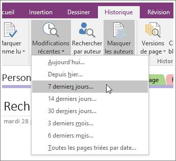 Capture d'écran du bouton Modifications récentes dans OneNote2016.