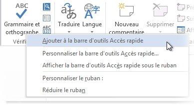 Ajouter la commande Grammaire et orthographe à la barre d'outils Accès rapide dans Word