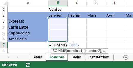La formule apparaît également dans la feuille de calcul Londres.