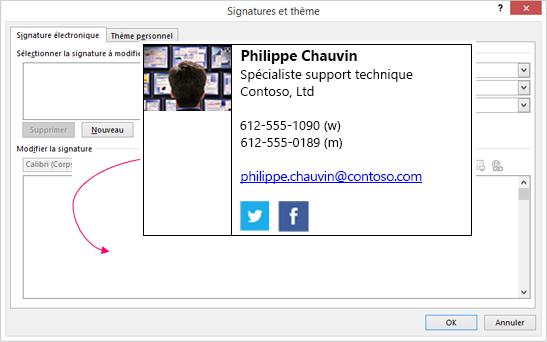 Coller le bloc de signature personnalisée dans la zone de texte de signature de courrier électronique dans les Signatures et boîte de dialogue papier à lettres