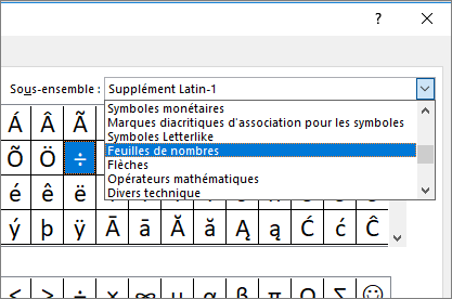 Sélectionner Feuilles de nombres dans la boîte de dialogue Sous-ensemble pour afficher les fractions et autres symboles mathématiques