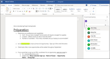 Document avec volet des commentaires ouvert et liste de noms dans laquelle choisir