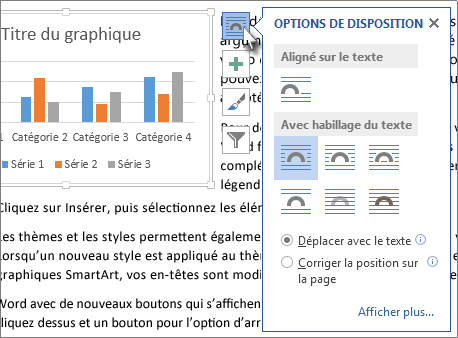 Options de disposition du graphique