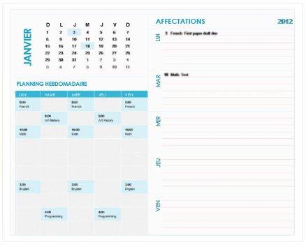 Modèle de calendrier de planification hebdomadaire pour étudiants (Excel)