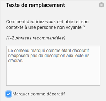 Case à cocher Marquer comme décoratif activée du volet Texte de remplacement de Word pour Mac.