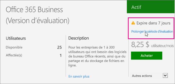 Prolonger votre version d valuation d office 365 pour les entreprises office 365 - Office 365 version d essai ...
