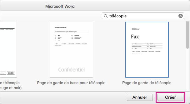 Pour créer une page de garde de télécopie, recherchez «télécopie», sélectionnez un modèle, puis cliquez sur Créer.