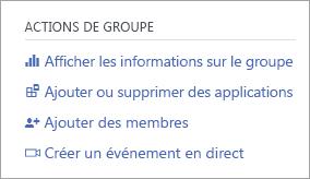 Menu actions de groupe avec l'option créer un événement en direct