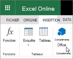 Capture d'écran d'un gros plan du groupe de macros complémentaires sur l'onglet Insertion du ruban avec le curseur en pointant sur «Compléments Office».