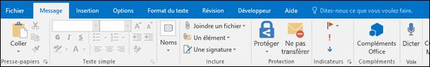 Sélectionnez Signature dans le menu Message.