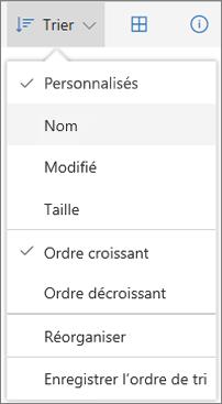 Capture d'écran du menu Trier de OneDrive