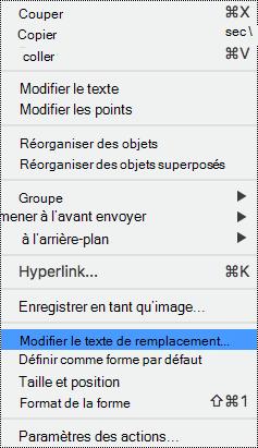 Menu contextuel des formes avec l'option texte de remplacement sélectionnée