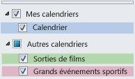 Autres calendriers répertoriés dans le volet de navigation