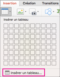 Option de menu Insérer un tableau