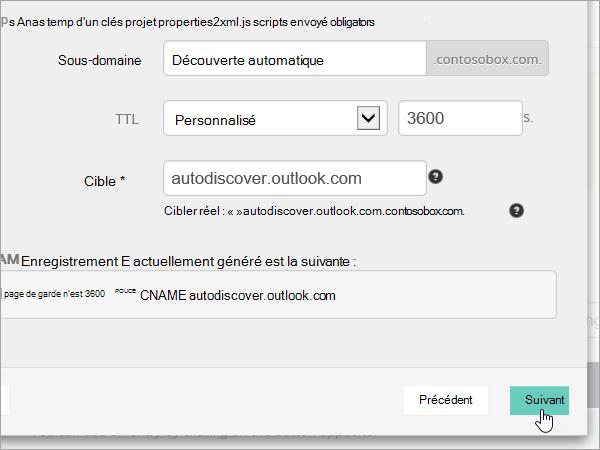 Valeurs OVH ajouter CNAME et sélectionnez Next_C3_201752910115