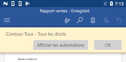 Lorsque vous ouvrez un fichier protégé par IRM dans Office pour Android, vous pouvez voir les autorisations qui vous ont été attribuées.