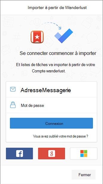 Capture d'écran de to-do avec l'écran de connexion à Wunderlist ouvert dans l'importateur.