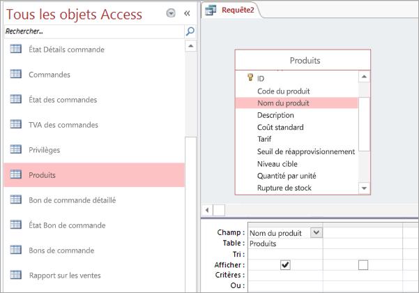 Capture d'écran de l'affichage Tous les objets Access