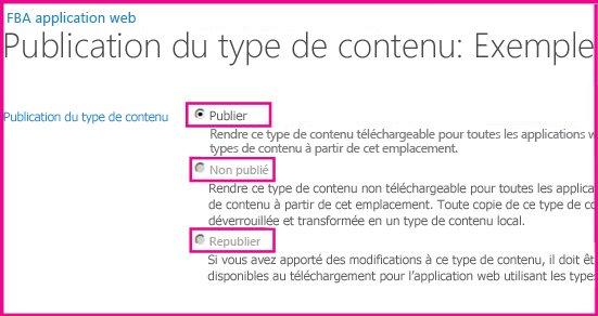 Dans la page Publication du type de contenu dans un site concentrateur, vous pouvez publier, republier ou annuler la publication d'un type de contenu.
