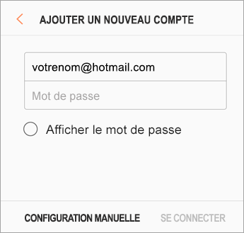 Adresse de courrier et mot de passe