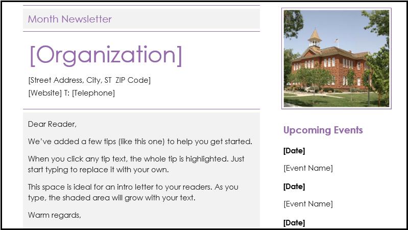 Capture d'écran d'un modèle de bulletin d'information scolaire