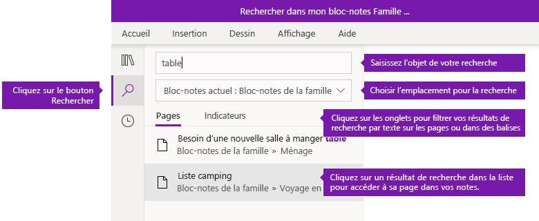 Options du volet de recherche dans OneNote pour Windows 10