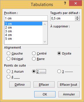 Les options de la boîte de dialogue Tabulations sont affichées.