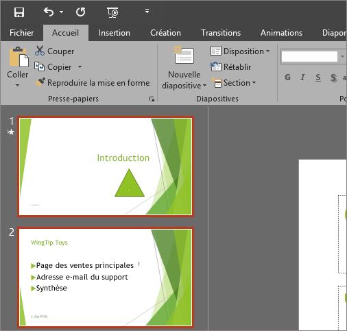 PowerPoint2016 avec le thème Gris foncé appliqué