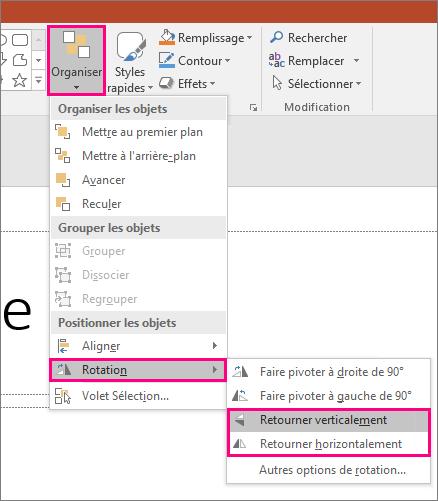 Affiche les options Organiser > Faire pivoter > Retourner dans PowerPoint.