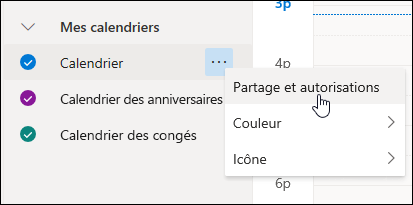 Capture d'écran du curseur survol partage et autorisations dans le menu contextuel de calendrier