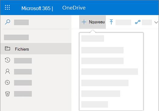 Sélection du menu Nouveau pour créer un document dans OneDrive Entreprise
