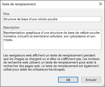 Capture d'écran de la boîte de dialogue Texte de remplacement dans OneNote avec des exemples de texte dans les champs Titre et Description.