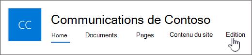Menus supérieure du site communication