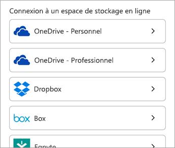 Choisissez votre service cloud.