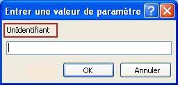 Affiche un exemple de boîte de dialogue entrer une valeur de paramètre inattendue, avec une bordure rose qui entoure l'étiquette de l'identificateur «SomeIdentifier», un champ dans lequel entrer une valeur et les boutons OK et annuler.