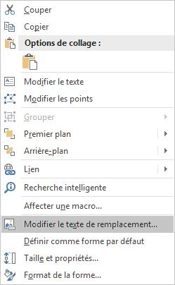 Menu Modifier le texte de remplacement d'Excel Win32 pour les formes
