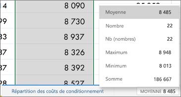 Feuille de calcul avec fonctions courantes disponibles dans le coin inférieur droit
