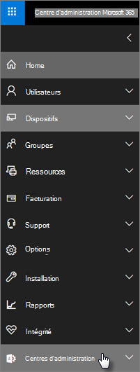 Dans le volet de navigation gauche du centre d'administration Microsoft 365, choisissez centres d'administration.
