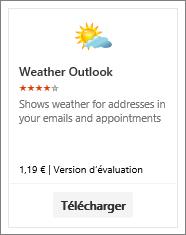 Capture d'écran du complément Outlook Météo disponible via un essai gratuit ou la version payante.