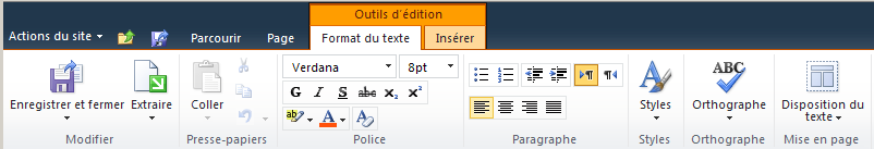 Onglet Outils d'édition Onglet Format du texte