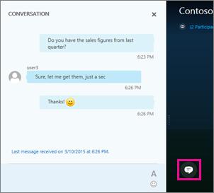 Sélectionner le bouton de messagerie instantanée pour afficher ou masquer la fenêtre de réunion de messagerie instantanée