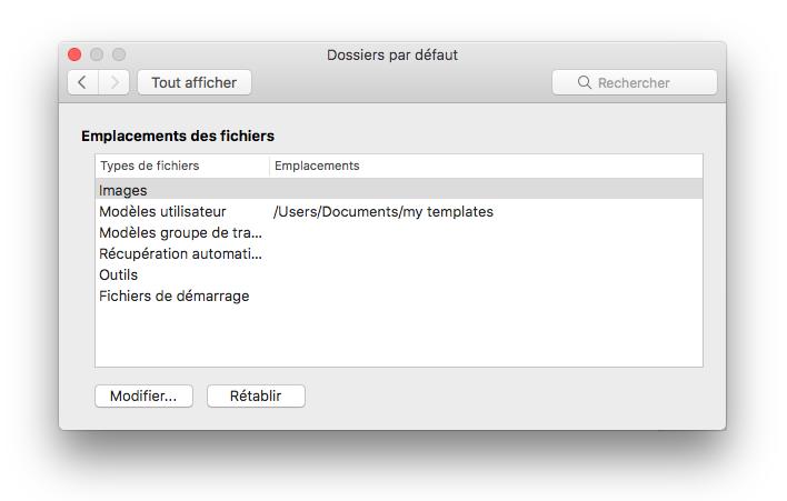 capture d'écran du volet des préférences emplacement des fichiers à partir de Microsoft Word