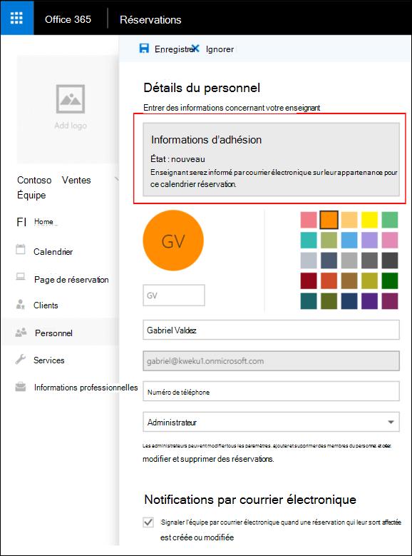 Page de détails de personnel avec mise en évidence de bouton Enregistrer