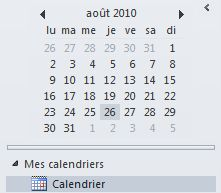 Navigateur de dates dans le volet navigation du calendrier