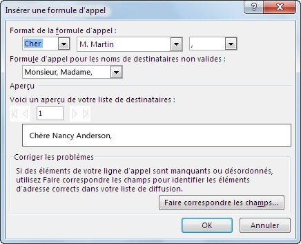 Options Formule d'appel