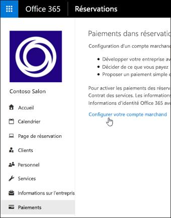 Capture d'écran: Sélectionnez cette option pour configurer un compte marchand et gérer les paiements en réservations
