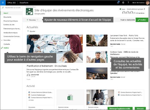Page d'accueil de site d'équipe SharePoint Online